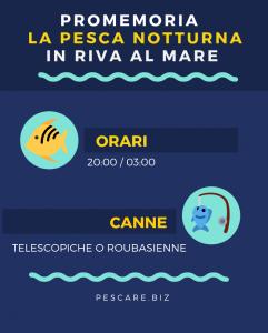 infografica pescare al mare di notte